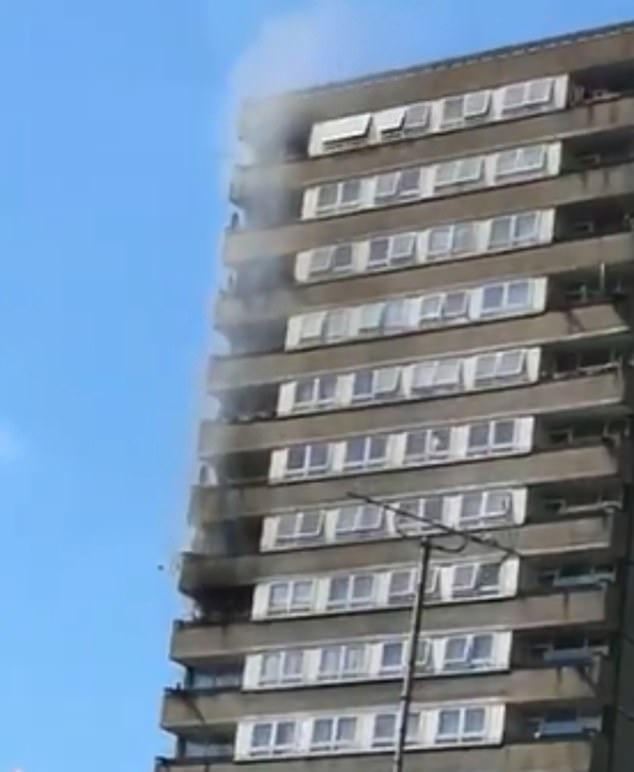 Fire breaks out on balcony of flat block opposite Grenfell Tower as 60 firefighters rush to the scene 15