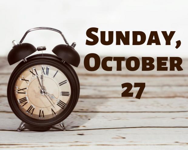 Clocks going back Sunday 1