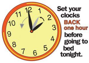 Clocks going back Sunday 2