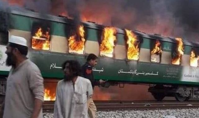 Pakistan train fire kills 65 after gas canister explodes 1