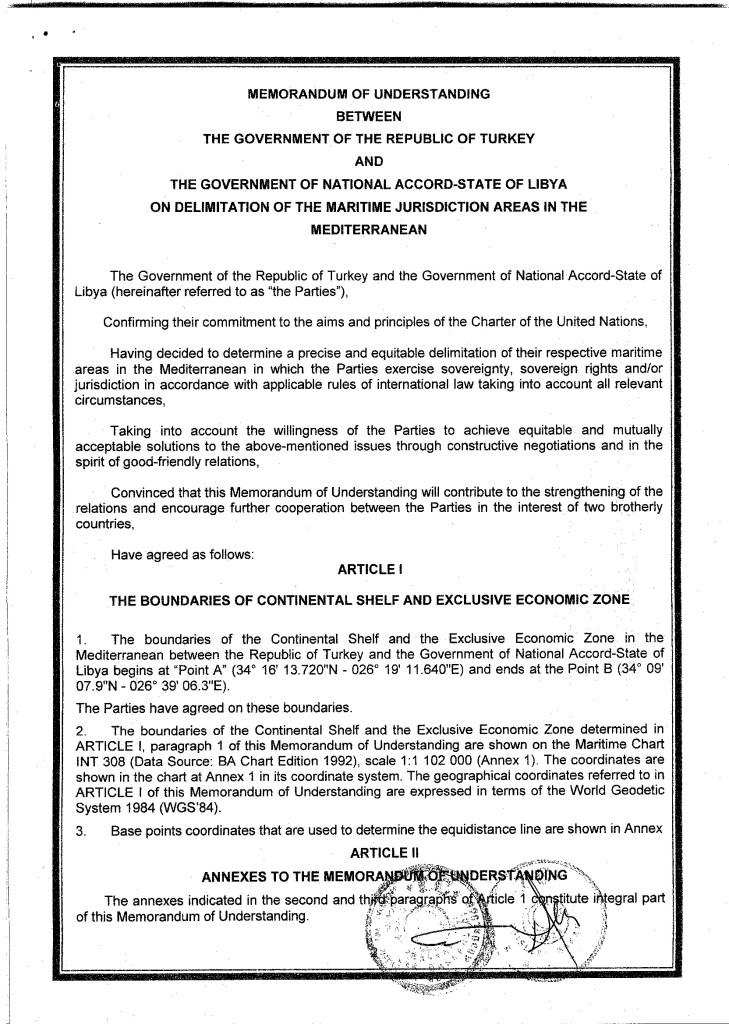 Full text of Turkey-Libya maritime agreement revealed 3