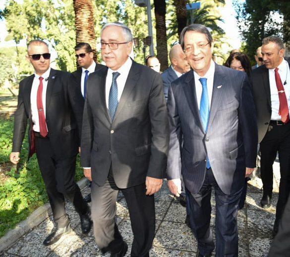 Greek Cypriot leader, Mr Nicos Anastasiades and the Turkish Cypriot leader, Mr. Mustafa Akıncı