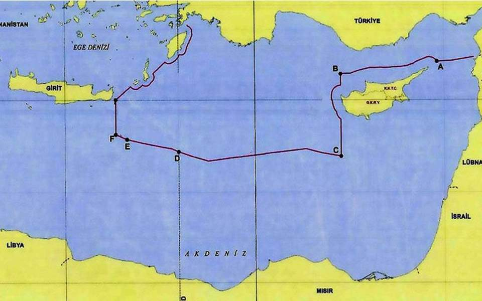 Turkish diplomat posts map with Ankara's view of continental shelf in the Eastern Mediterranean 1