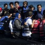 Migrants on a boat to Greece