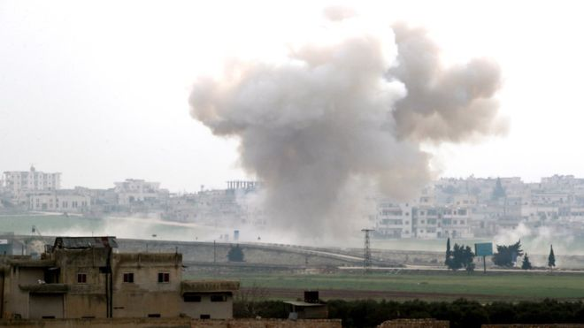 A new air strike was reported in the flashpoint town of Saraqeb on Friday