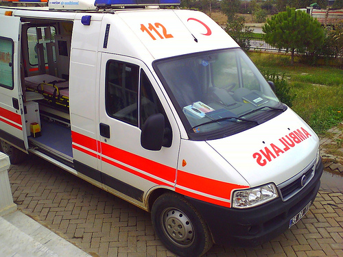 Red Crescent ambulance in the north rushes patient to Nicosia General in the south