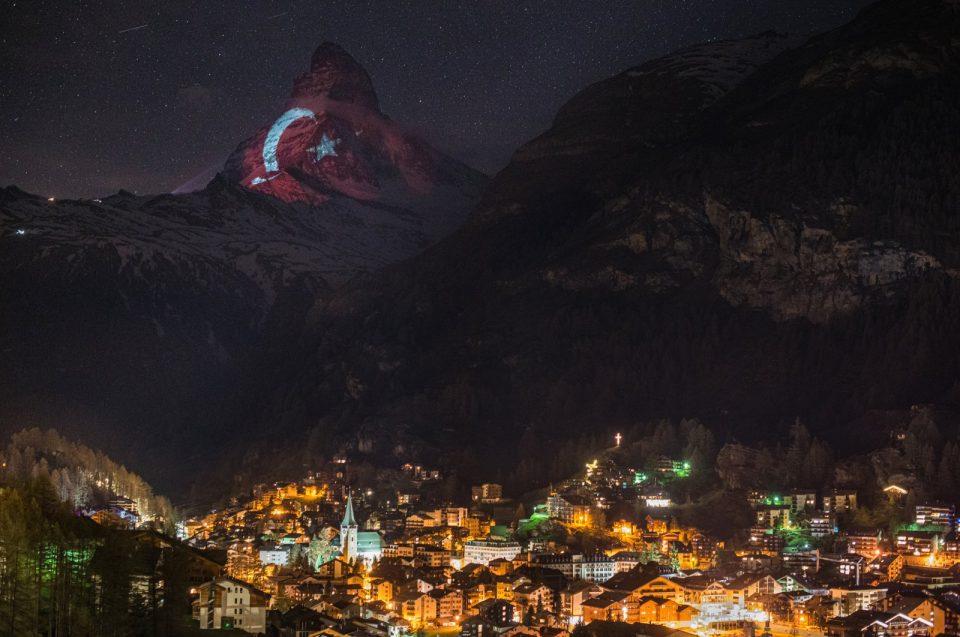 Switzerland's Matterhorn lit up with Turkish flag