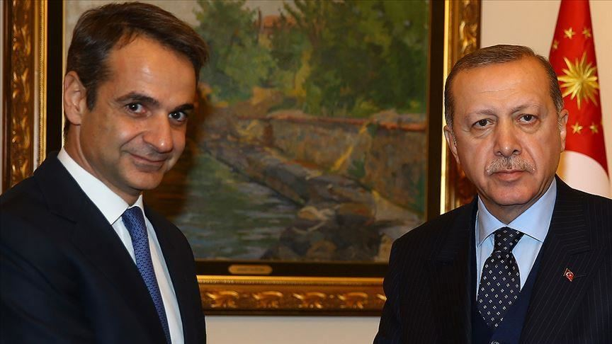 Kyriakos Mitsotakis and Turkish President Tayyip Erdogan
