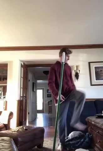 Boy Breaks Broom After Failing to Jump Over It
