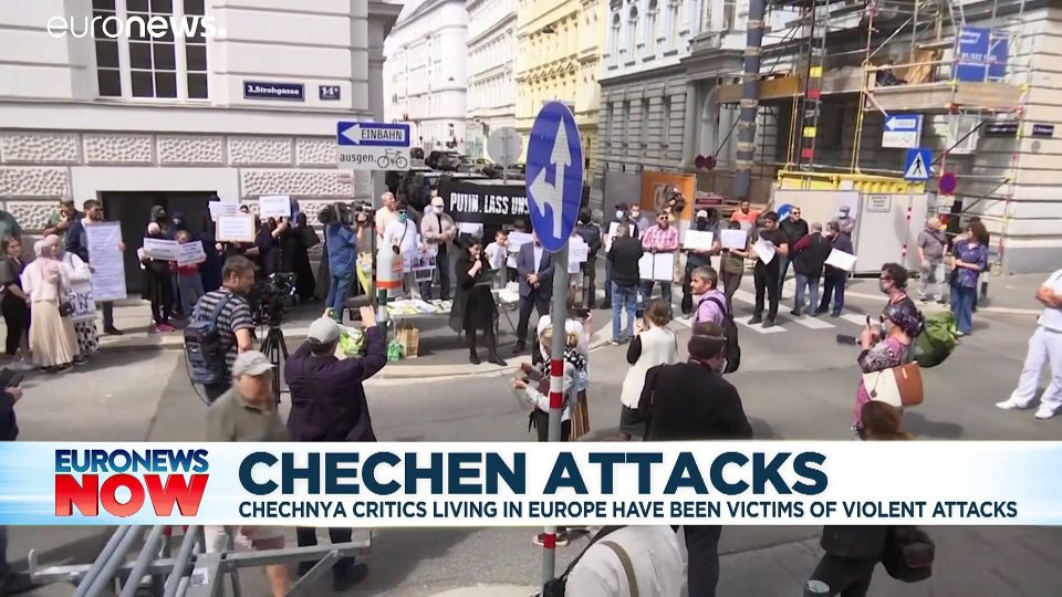 Chechens demonstrate over 'Kremlin-backed' killing of activist in Vienna