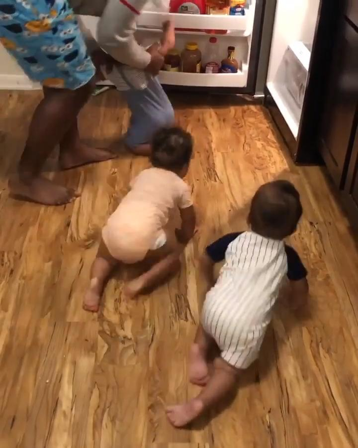 Dad Faces A Tough Time Keeping Toddler Triplets Away From Fridge