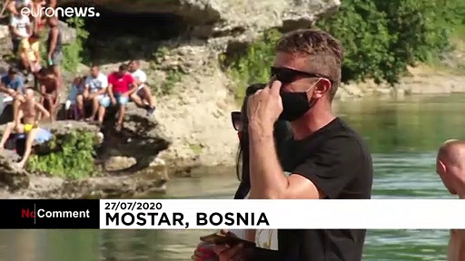 Extreme bridge diving goes ahead in Bosnia despite COVID-19 pandemic