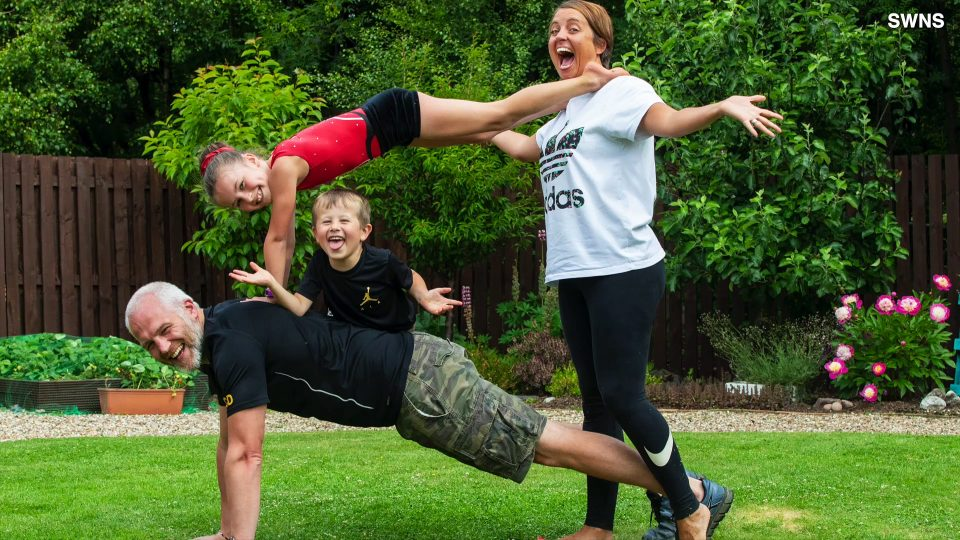 Flippin' Family! Young Gymnast Gets Her Family to Do Gymnastics Exercises Together!