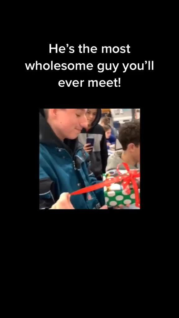 Friends Surprise Boy With Handheld Game Console for Christmas