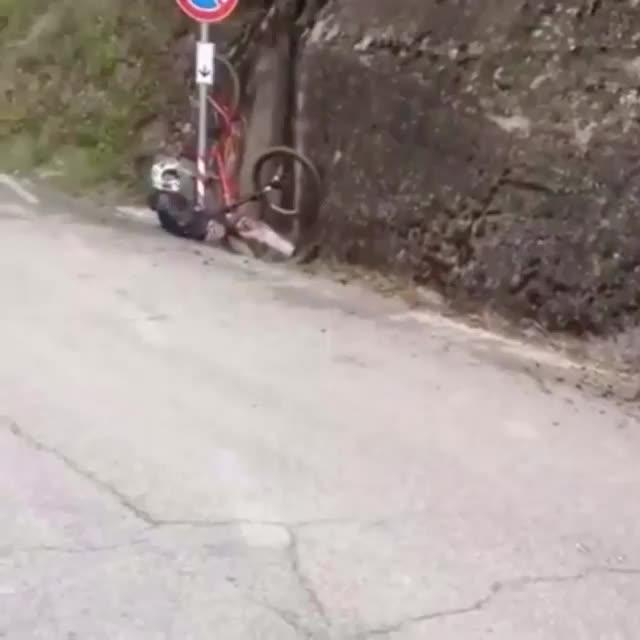 Guy Crashes Into Signpost While Doing Bicycle Stunt