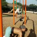 Guy Gets Stuck in Moving Swing and Falls While Doing Workout