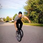 Guy Shows Off Amazing Trick With Two Unicycles