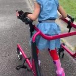 Little Girl Takes Her First Walk Ever Using Walker During Quarantine