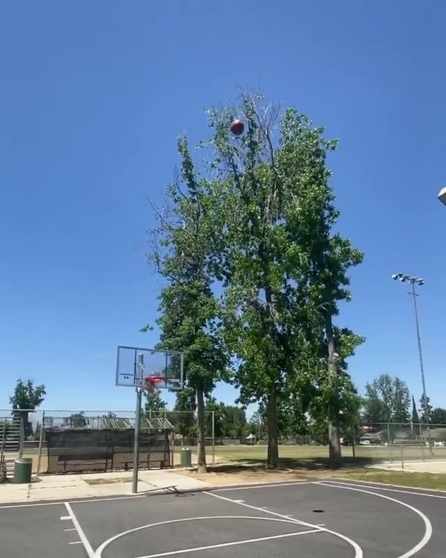 Police Officer Makes Basketball Trickshot Without Looking