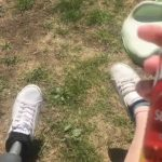 Woman Sprays Sunscreen on leg and Cleaning Spray on Prosthetic leg