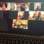 Family Parties With Drinks Via Video Call While Sheltering in Place