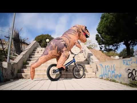 Guy Does Bicycle Trick While Wearing Inflatable Costume