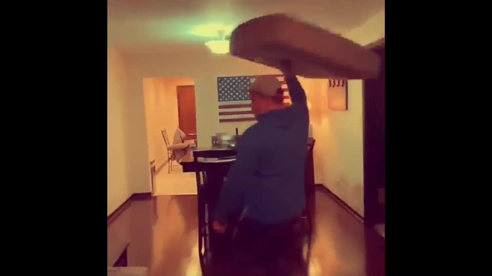 Guy Spins Mattress on His Hand