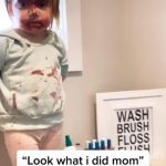 Little Girl Applies Mother's Nail Paint on Face and Acts Innocent